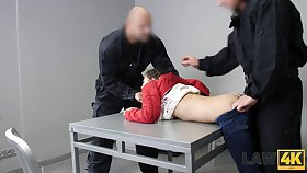 Svelte and unceremonious teen Cindy Shine is brutally fucked by several guards