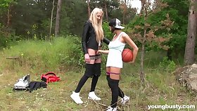 Blonde girl enjoys younger teen slattern for some lesbian entertainment