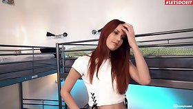 Redhead hottie Charlie Red drops her glad rags to repugnance fucked good